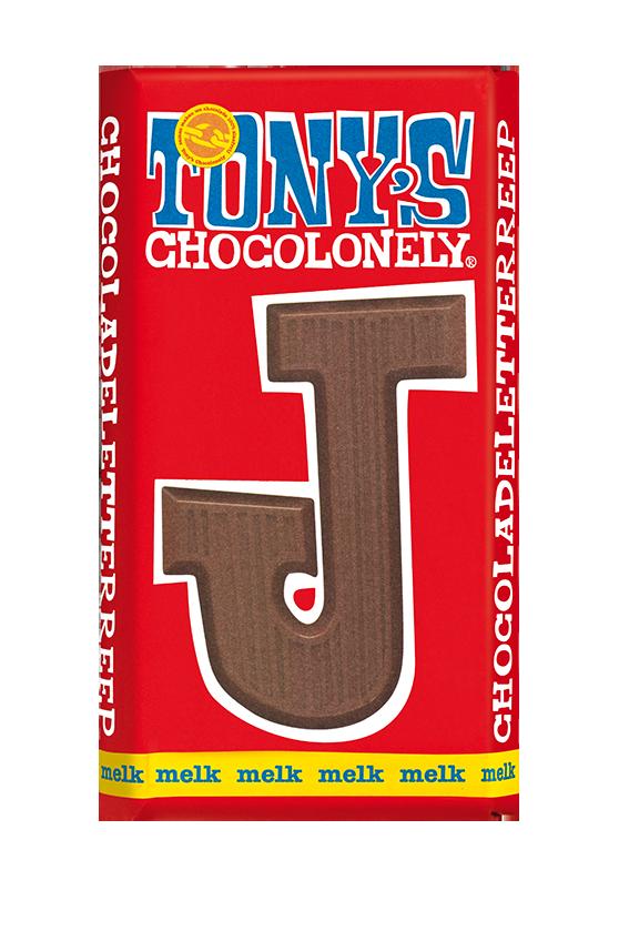 chocolate letter bar milk J